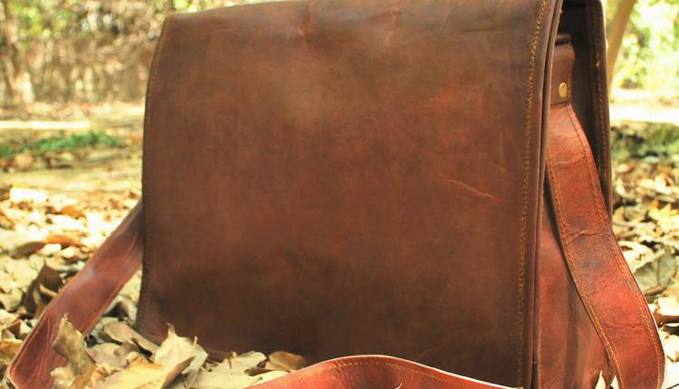 Leather Messenger Bag for Men Women